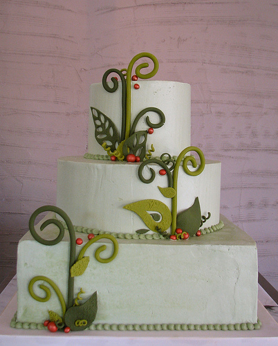 Lacy Leaf Wedding Cake by Whipped Bakeshop