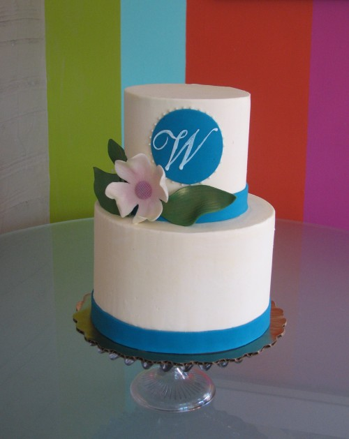 Monogram Wedding Cake by Whipped Bakeshop